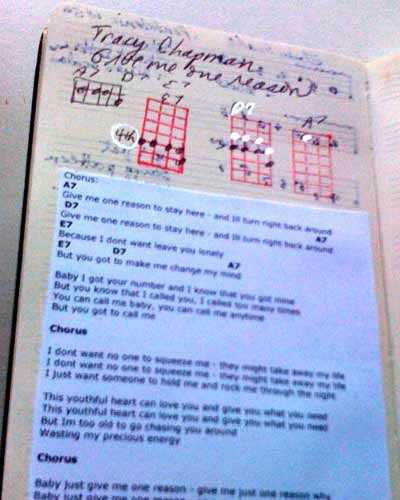 Learn new chords farther up the neck with songs pasted into Ukulele Moleskine.