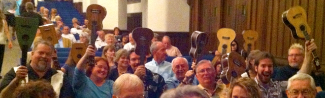 Ukuleles in the Audience at Ukulele Orchestra of Great Britain's Performance
