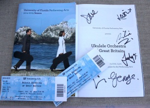 Ukulele Orchestra of Great Britain Concert Tickets and signed program